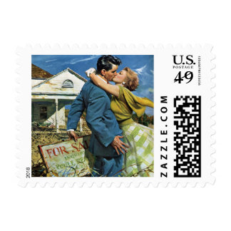 Vintage Wedding, Newlyweds Buy First House Postage