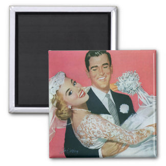 Vintage Wedding Newlyweds, Groom Carrying Bride 2 Inch Square Magnet
