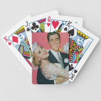Vintage Wedding Newlyweds, Groom Carrying Bride Bicycle Playing Cards