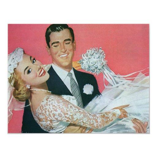 Vintage Wedding Newlyweds, Groom Carrying Bride Card