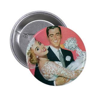 Vintage Wedding Newlyweds, Groom Carrying Bride Pinback Button