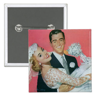 Vintage Wedding Newlyweds, Groom Carrying Bride Pinback Button