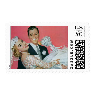 Vintage Wedding Newlyweds, Groom Carrying Bride Postage