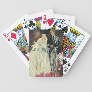 Vintage Wedding Newlyweds, Happy Bride and Goom Bicycle Playing Cards