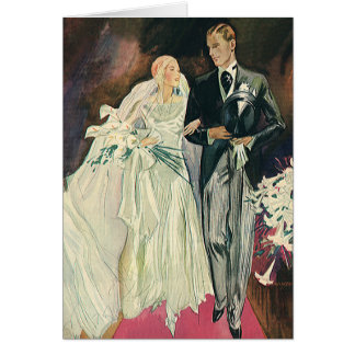 Vintage Wedding Newlyweds, Happy Bride and Goom Card