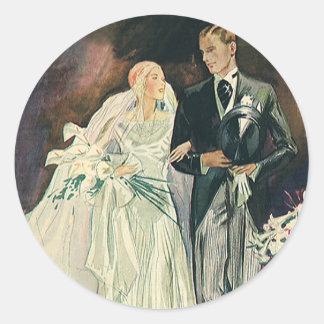 Vintage Wedding Newlyweds, Happy Bride and Goom Classic Round Sticker