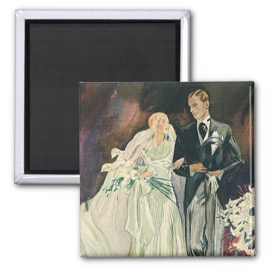 Vintage Wedding Newlyweds, Happy Bride and Goom Magnet