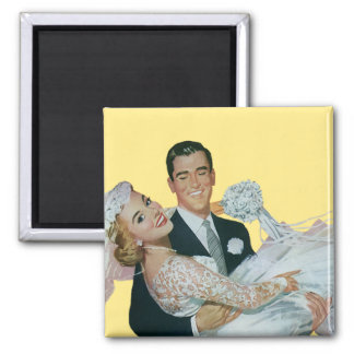 Vintage Wedding Newlyweds, Happy Bride and Groom 2 Inch Square Magnet