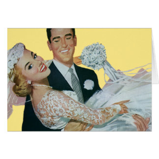 Vintage Wedding Newlyweds, Happy Bride and Groom Card