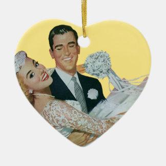 Vintage Wedding Newlyweds, Happy Bride and Groom Ceramic Ornament