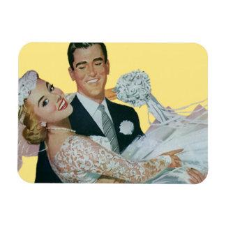 Vintage Wedding Newlyweds, Happy Bride and Groom Magnet
