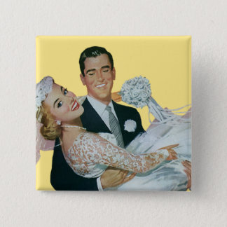 Vintage Wedding Newlyweds, Happy Bride and Groom Pinback Button