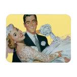 Vintage Wedding Newlyweds, Happy Bride and Groom Rectangular Photo Magnet