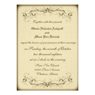 Vintage Wedding Party Elegant Invitation Card