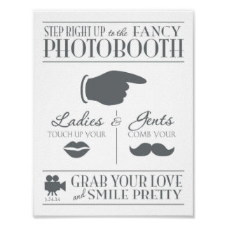 Vintage Wedding Photo Booth Sign Poster