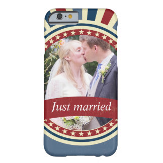 Vintage wedding photo insert red blue USA flag Barely There iPhone 6 Case