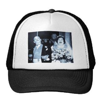 Vintage Wedding Picture - Happy Couple (Cyanotype) Mesh Hats