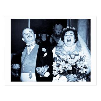 Vintage Wedding Picture - Happy Couple (Cyanotype) Postcard