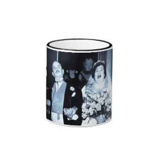 Vintage Wedding Picture - Happy Couple (Cyanotype) Ringer Coffee Mug