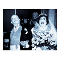 Vintage Wedding Picture Happy Couple Funny Bride Postcard