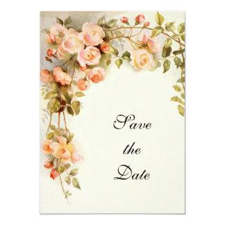 Vintage Wedding, Pink Rose Flowers, Save the Date Card