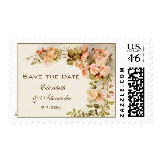 Vintage Wedding, Pink Rose Flowers, Save the Date Postage Stamp
