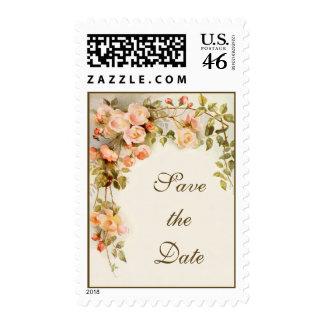 Vintage Wedding, Pink Rose Flowers, Save the Date Postage Stamps