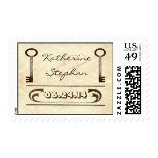 vintage wedding postage stamps