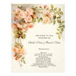 Vintage Wedding Program, Pink Rose Flowers Floral Flyer