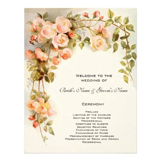 Vintage Wedding Program Pink Rose Flowers Floral Flyer  ZazzleCom