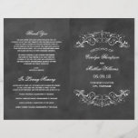 """Vintage Wedding Programs   Chalkboard Flourish<br><div class=""""desc"""">Decorative swirls and flourishes frame this elegant vintage inspired wedding ceremony program design. Rustic black chalkboard textured background look with white design. Personalize the custom text for your bridal party,  ceremony information,  and thank you message. Note: these text weight paper programs arrive flat and require folding to assemble.</div>"""