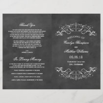 Vintage Wedding Programs | Chalkboard Flourish