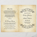 """Vintage Wedding Programs   Elegant Flourish<br><div class=""""desc"""">Decorative swirls and flourishes frame this elegant vintage inspired wedding ceremony program design. Rustic antique textured background look with black design. Personalize the custom text for your bridal party,  ceremony information,  and thank you message. Note: these text weight paper programs arrive flat and require folding to assemble.</div>"""
