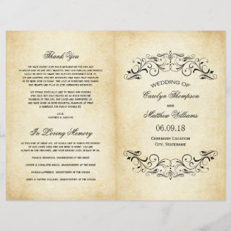 Vintage Wedding Programs   Elegant Flourish