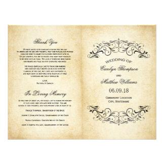 Vintage Wedding Programs | Elegant Flourish Personalized Flyer