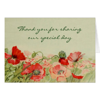 Vintage Wedding Red Poppy Flower Floral Thank You Stationery Note Card