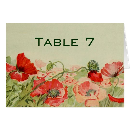 Vintage Wedding, Red Poppy Flowers Floral Meadow Card