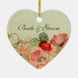 Vintage Wedding, Red Poppy Flowers Floral Meadow Double-Sided Heart Ceramic Christmas Ornament