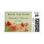 Vintage Wedding, Red Poppy Flowers, Save the Date Postage Stamp