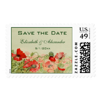 Vintage Wedding, Red Poppy Flowers, Save the Date Postage