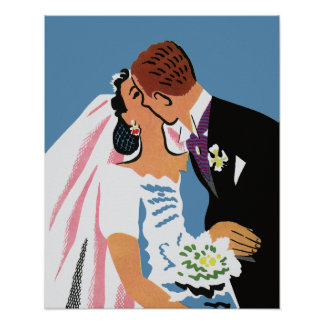 Vintage Wedding, Retro Bride and Groom Kissing Poster