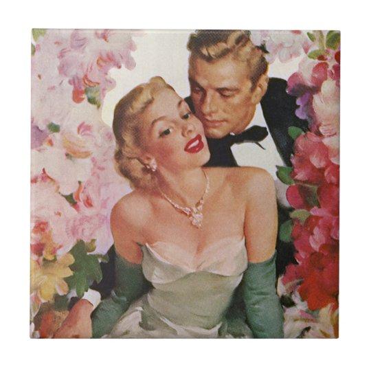 Vintage Wedding, Retro Bride and Groom Newlyweds Ceramic Tile