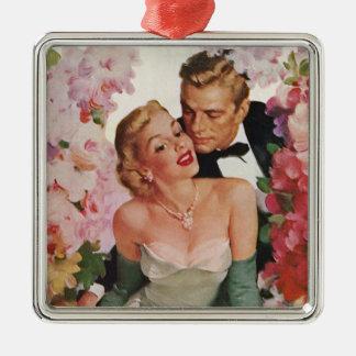 Vintage Wedding, Retro Bride and Groom Newlyweds Metal Ornament
