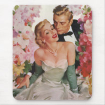 Vintage Wedding, Retro Bride and Groom Newlyweds Mouse Pad