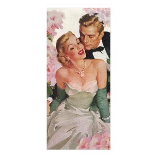 Vintage Wedding, Retro Bride and Groom Newlyweds Rack Card