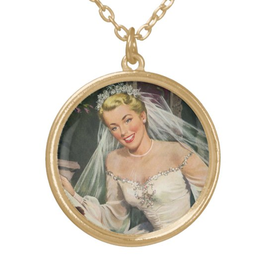 Vintage Wedding, Retro Bride with Flower Girl Gold Plated Necklace
