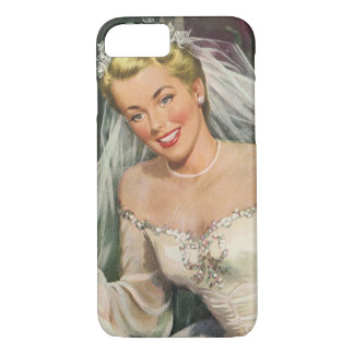 Vintage Wedding, Retro Bride with Flower Girl iPhone 7 Case