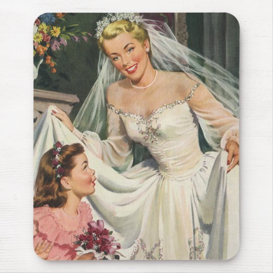 Vintage Wedding, Retro Bride with Flower Girl Mouse Pad