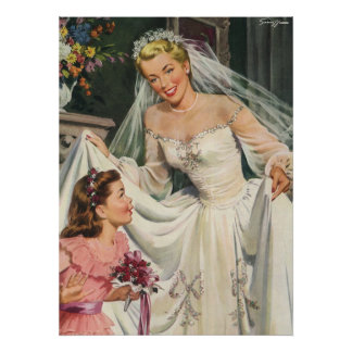 Vintage Wedding, Retro Bride with Flower Girl Poster