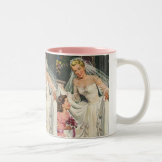 Vintage Wedding, Retro Bride with Flower Girl Two-Tone Coffee Mug